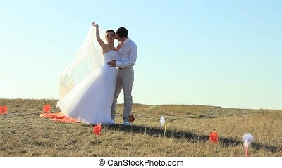 On A Wedding Day - Newlyweds spending time together on a...