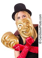 mujer, con, teatro, máscaras, aislado, en, blanco,