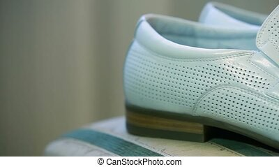 Leather Shoes - DOLLY. Bright shoes for men. Close-up