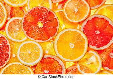 Colorful citrus fruit slices - Colorful citrus fruit -...