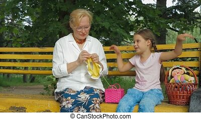 Spending Time With Grandmother - Granddaughter spending time...