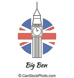 bigben - English famous sightseeing Big Ben. Branding...