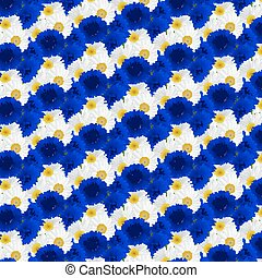 Seamless pattern with flowers camomile, cornflowers -...