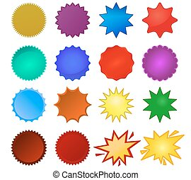 starburst seals - Starburst seals set, bursting star, glass...
