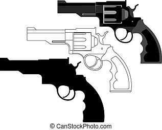 revolver, gun, weapon - vector illustration - handgun,...