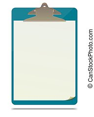 Clipboard with blank paper sheet