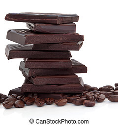 Chocolate and Coffee Beans - Dark chocolate pieces in a...