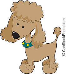 Poodle Apricot - An apricot cartoon poodle isolated on a...