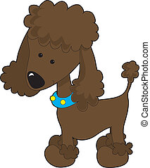 Poodle Brown - A brown cartoon poodle isolated on a white...