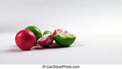 red and greem bubble gum - picture of a red and green bubble...