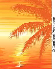 Sunset in ocean with palm tree. - Vertical vector...