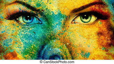 abstract color Backgrounds, and woman eye. painting collage with spots, rust structure .