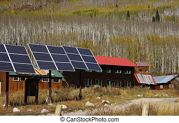 Solar panels in a village