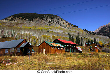 Historic town in the middle of rockies - Old houses in the...