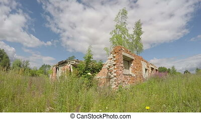rural house ruins on farm meadow