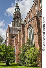 Martini church and tower in the center of Groningen, The...