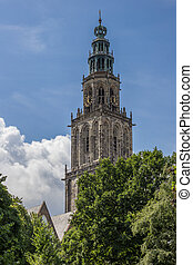 Martini tower view from the park in Groningen, Holland