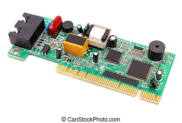 Printed circuit board on white background, technology -...