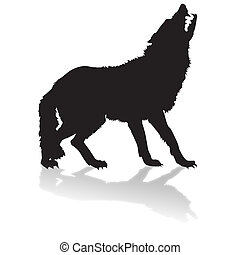 silhouette of a wolf with shadow