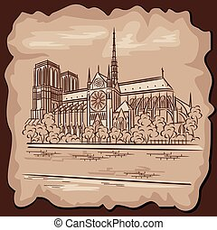 Notre Dam - vector images of Notre Dame Cathedral in Paris