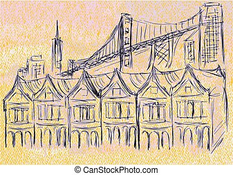 san francisco. abstract urban background with building and...