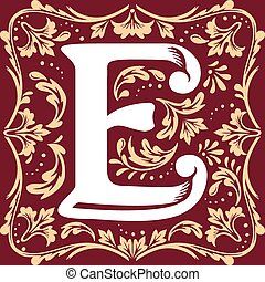 old vintage letter E - letter E vector image in the old...