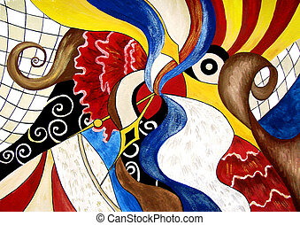 Abstract painting of Spanish themes - Original painting of...