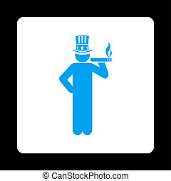 Capitalist icon. Glyph style is blue and white colors, flat...