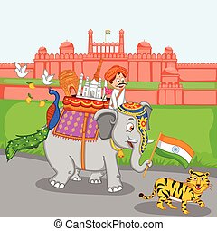 India Background - Famous monument on elephant with tiger...