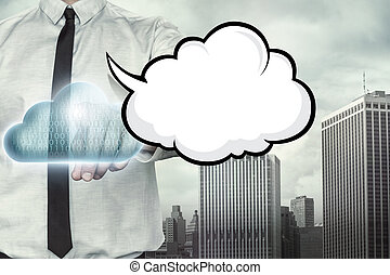 Blank speech bubble on cloud computing theme with...