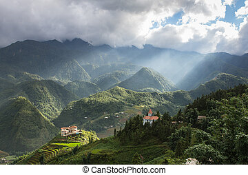 sapa - Sapa view point with sunbeam , Sapa , Vietnam
