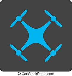Quadcopter icon. Vector style is white and gray colors, flat...