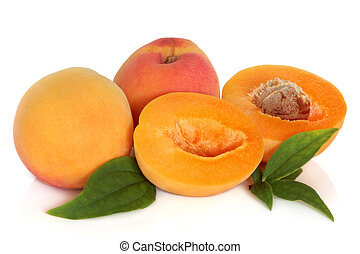 Apricot Fruit - Apricot fruit with leaf sprigs, isolated...