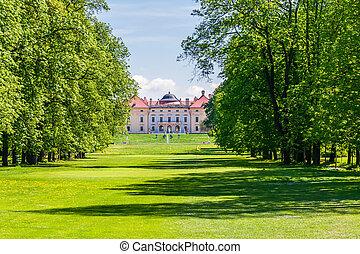 Historic building in the park Slavkov u Brna, Czech Republic