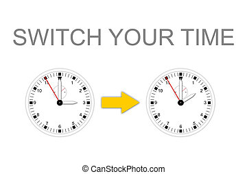 SWITCH YOUR TIME - Illustration of two watches for change...