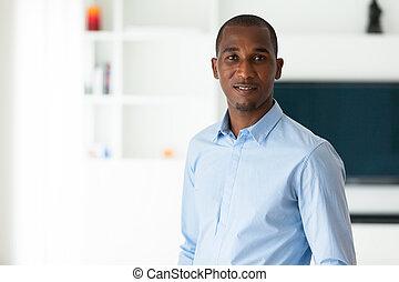 Retrato, de, Um, jovem, africano, americano, negócio,...