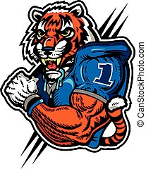 tiger football player - muscular tiger football player in...