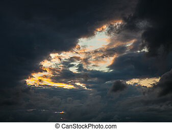 Dramatic sky with stormy clouds. Nature background