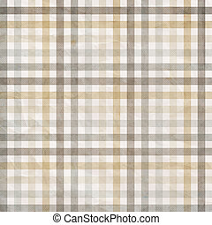 textile plaid background in beige, grey, white