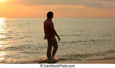 Newlyweds Splash On The Beach