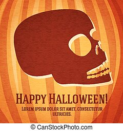 Happy halloween greeting card with carved human skull on the pumpkin.