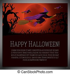 Big halloween banner with illustration of witches on the red moony background and scary tree branches. Vector