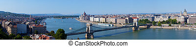 Panoramic view of Budapest: chain Secheni Bridge through the river Danube and Parliament