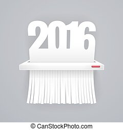 Paper 2016 is Cut into Shredder on Gray