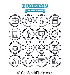 Business linear icons set. Thin outline signs. Vector -...