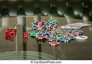The concept of card games. Man playing poker at the poker...