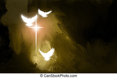 Spiritual Doves and Salvation Cross - Conceptual graphic...