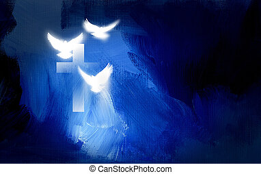 Christian cross with glowing doves graphic - Conceptual...