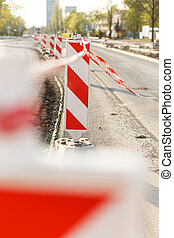 Road construction on city street - Close-up of road...