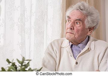 pensieroso, anziano, uomo